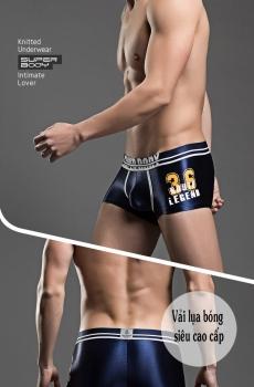 Quần lót nam boxer Super Body lụa bóng xanh 323D
