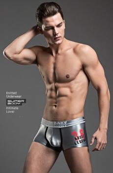 Quần lót nam boxer Super Body lụa bóng ghi 323G