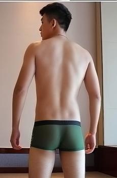 Quần lót nam boxer lưới mịn xanh 345F