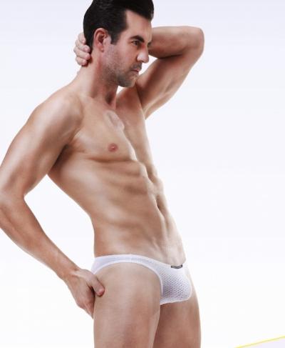 Quần lót nam Bikini lưới gợi cảm trắng 260B