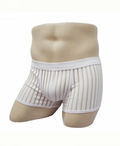 Quần lót nam boxer lưới sọc gợi cảm trắng 363B