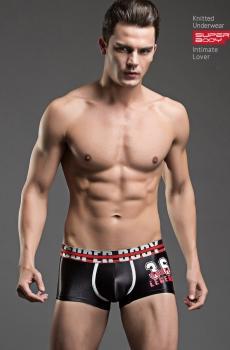 Quần lót nam boxer Super Body lụa bóng đen 323A