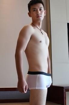 Quần lót nam boxer lưới mịn trắng 345B